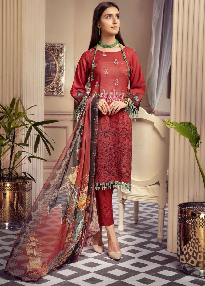 Blossom by Riaz Arts Embroidered Lawn Unstitched 3 Piece Suit RA21B 01 - Summer Collection