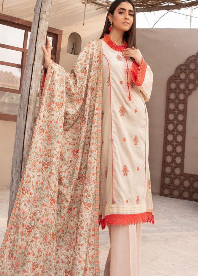 Blossom by Riaz Arts Embroidered Lawn Suits Unstitched 3 Piece RA21BE BL-11 - Summer Collection