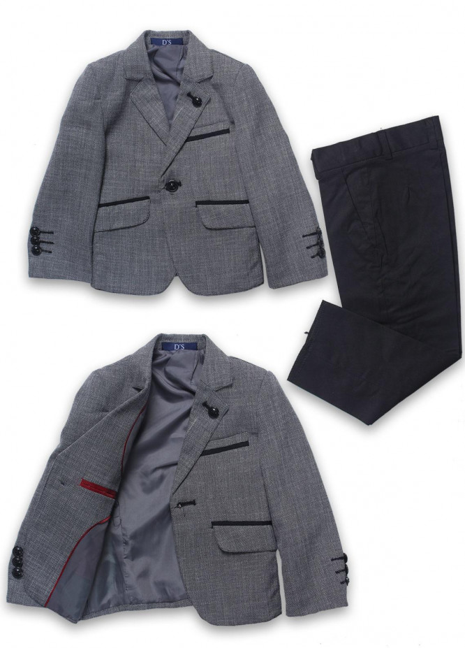 Sanaulla Exclusive Range Cotton Formal Coat Suit for Boys -  1001 Grey