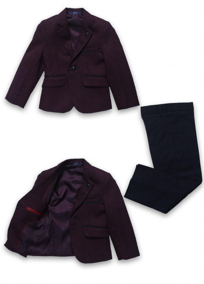 Sanaulla Exclusive Range Cotton Formal Boys Coat Suit -  1001 Maroon