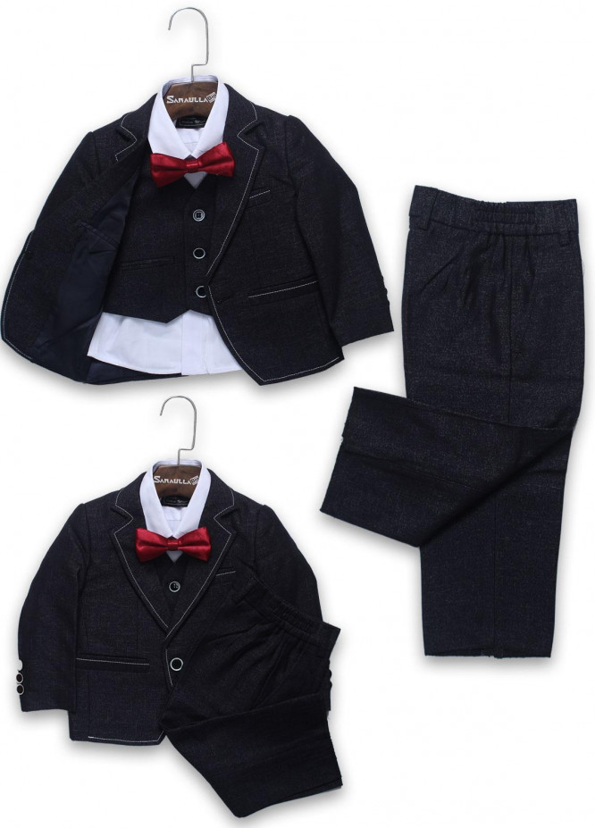 Sanaulla Exclusive Range Cotton Formal Boys Coat Suit -  A 962 Blue