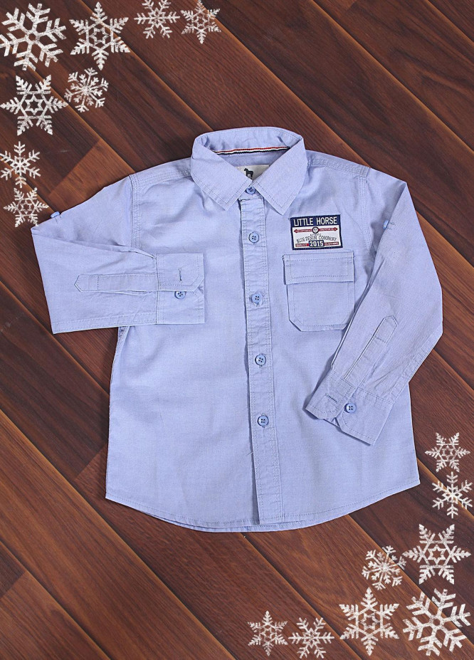 Sanaulla Exclusive Range Cotton Casual Boys Shirts -  S8307 Sky Blue