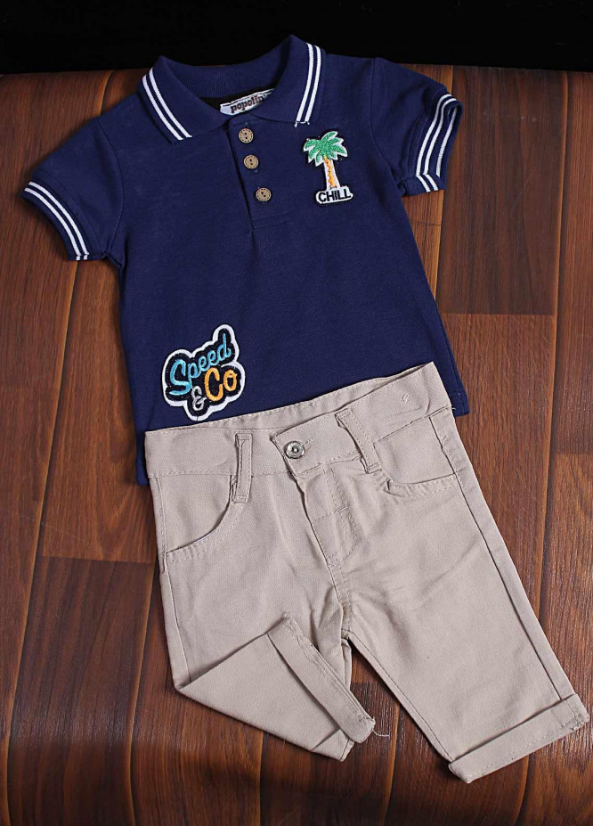 Sanaulla Exclusive Range Cotton Fancy Suit for Boys -  2912 Navy Blue