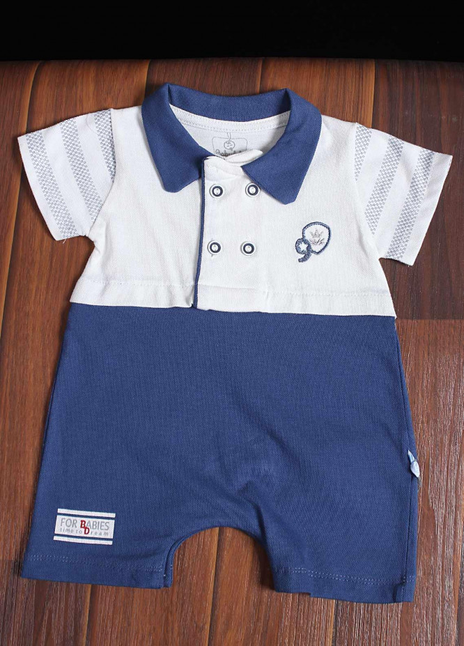 Sanaulla Exclusive Range Cotton Fancy Boys Romper -  40107 Blue