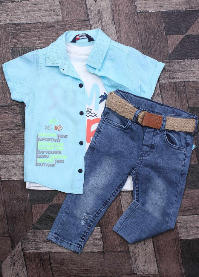 Sanaulla Exclusive Range Cotton Fancy Suits for Boys -  7034 Sky Blue