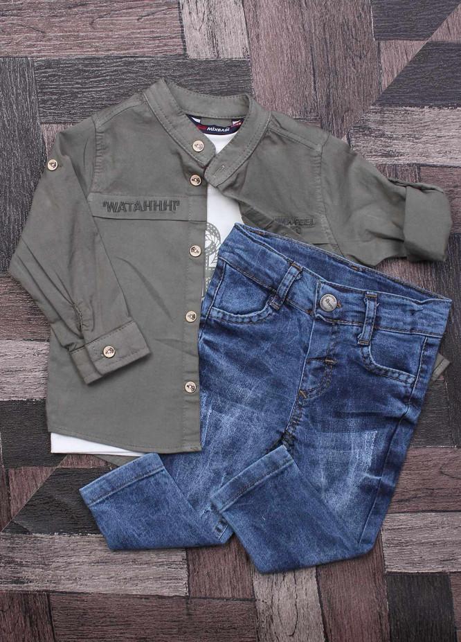 Sanaulla Exclusive Range Cotton Fancy Boys Suits - 7097 Green