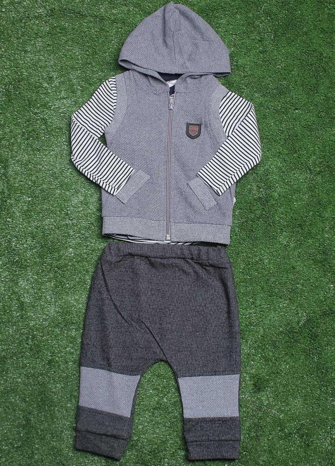 Sanaulla Exclusive Range Cotton Fancy 3 Piece Suit for Boys -  9171 Grey