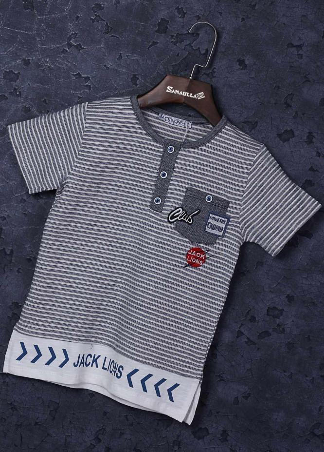 Sanaulla Exclusive Range Cotton Fancy T-Shirts for Boys -  1348 Grey