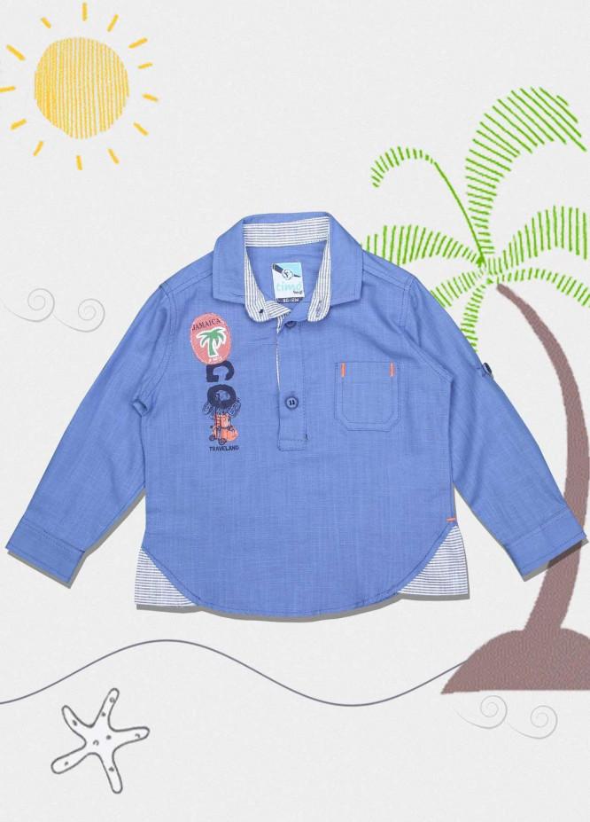 Sanaulla Exclusive Range Cotton Fancy Shirts for Boys -  551 Light Blue