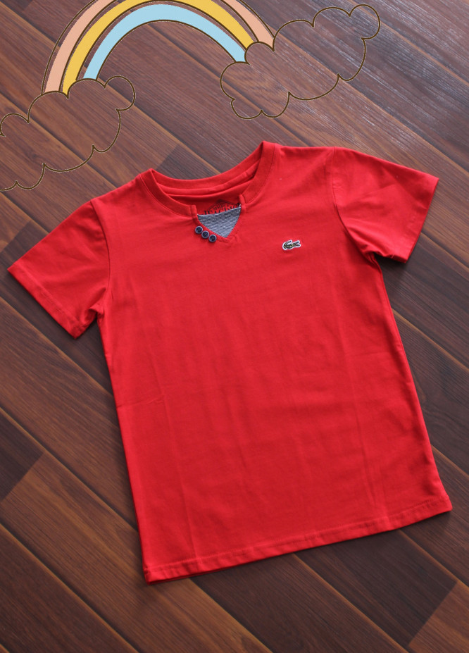 Sanaulla Exclusive Range Cotton V-Neck T-Shirts for Boys -  3017 Red