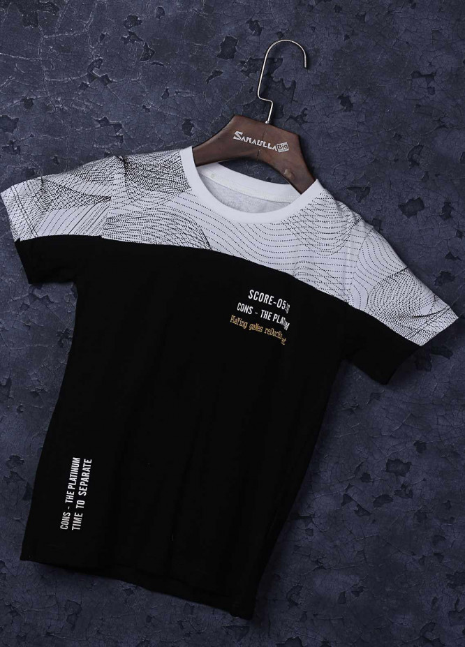 Sanaulla Exclusive Range Cotton Fancy T-Shirts for Boys -  3655 White