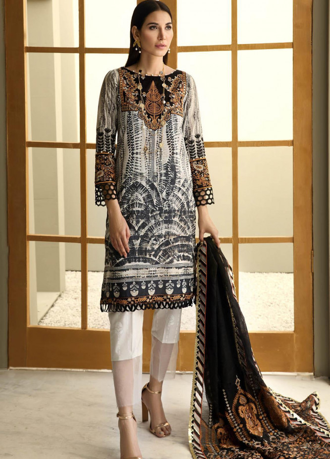 Resham Ghar Embroidered Lawn Suits Unstitched 3 Piece RG21B RGS-01 - Summer Collection