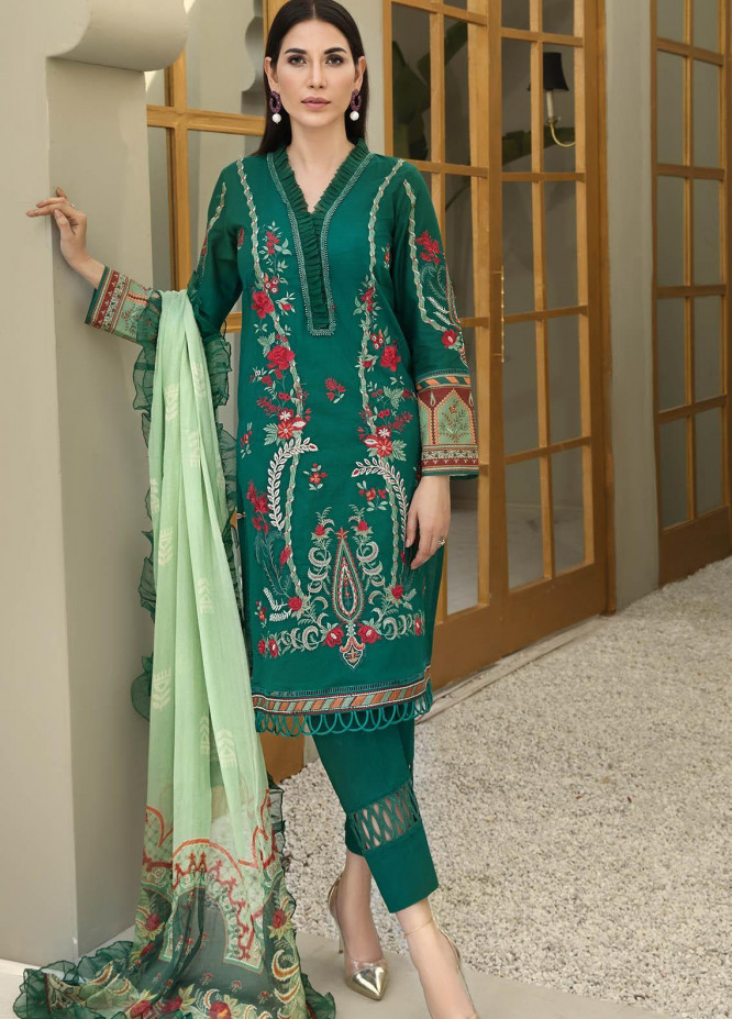Resham Ghar Embroidered Lawn Suits Unstitched 3 Piece RG21B RGS-05 - Summer Collection