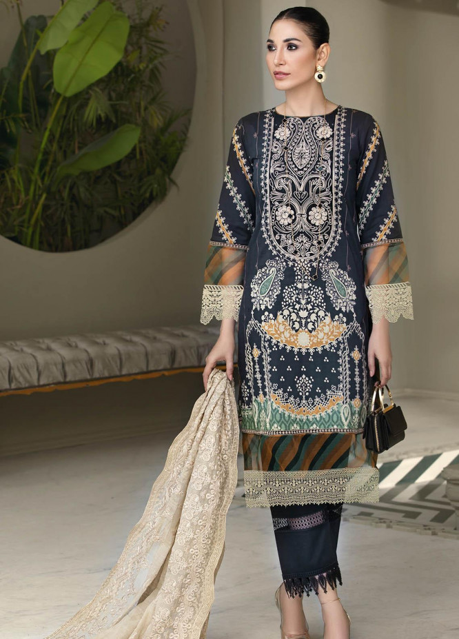 Resham Ghar Embroidered Lawn Suits Unstitched 3 Piece RG21B RGS-07 - Summer Collection