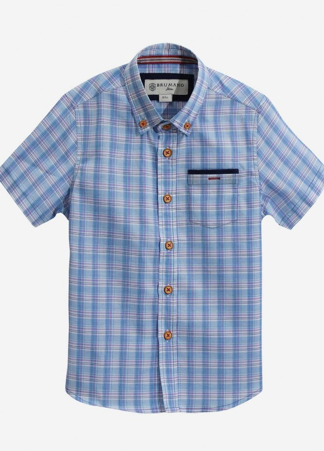Brumano Cotton Casual Boys Shirts - Blue BRM-817