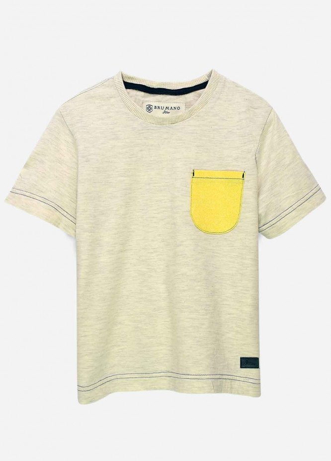Brumano Cotton Casual T-Shirts for Boys -  BRM21JS Heather Grey Yellow Pocket