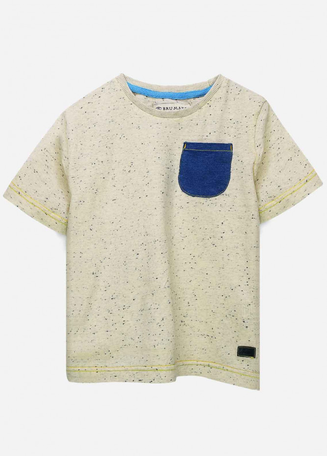 Brumano Cotton Casual Boys T-Shirts -  BRM21JS Off White Neppy Blue Pocket