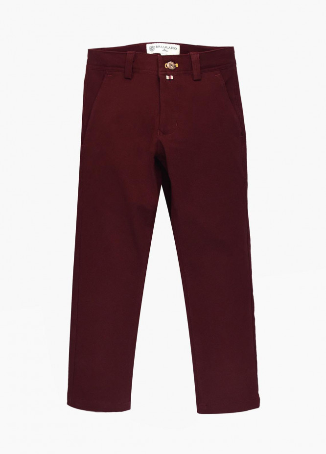 Brumano Cotton Casual Trousers for Boys - Blue BM20JP Burgundy Casual Trouser - Junior