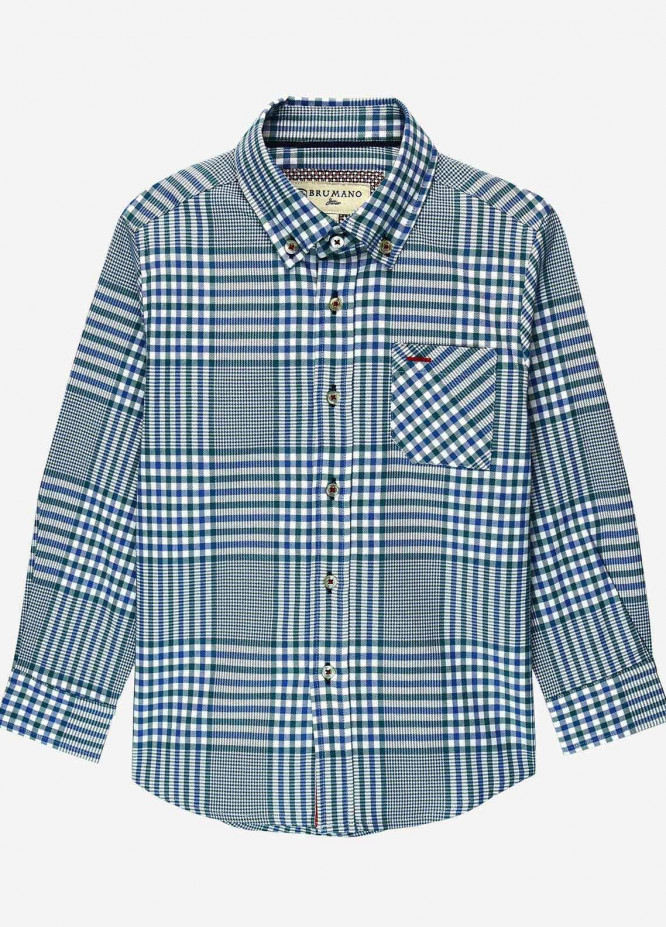Brumano Cotton Casual Shirts for Boys -  BM20JS Blue & Green Casual Checkered Shirt - Junior