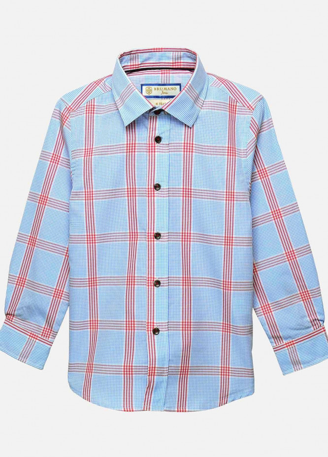 Brumano Cotton Casual Boys Shirts -  BM20JS Blue & Red Checkered Casual Shirt-Junior