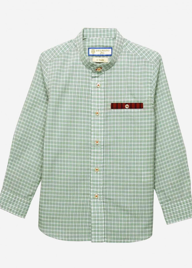 Brumano Cotton Casual Shirts for Boys -  BM20JS Light Green Checkered Casual Shirt-Junior