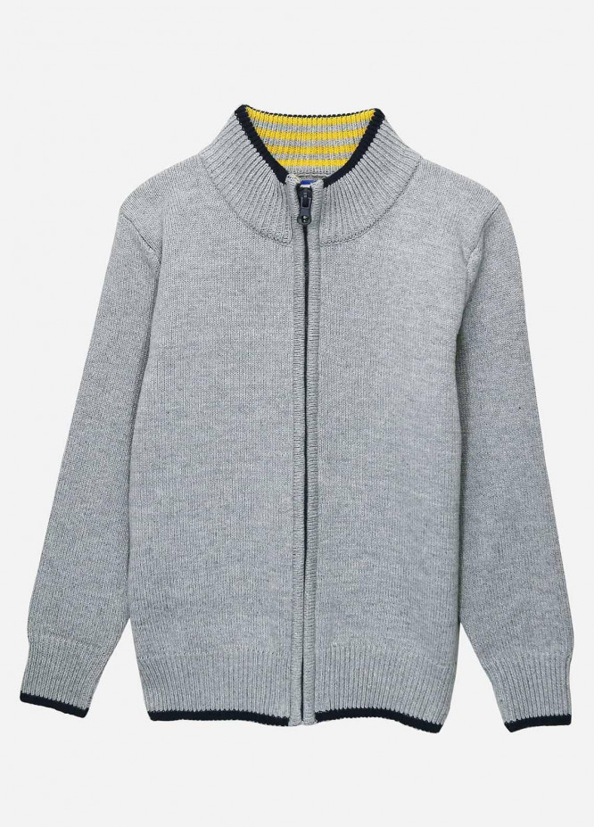 Brumano Cotton Full Sleeves Zipper Sweaters for Boys -  BM20SW Grey Casual Zipper With Detailing-Junior