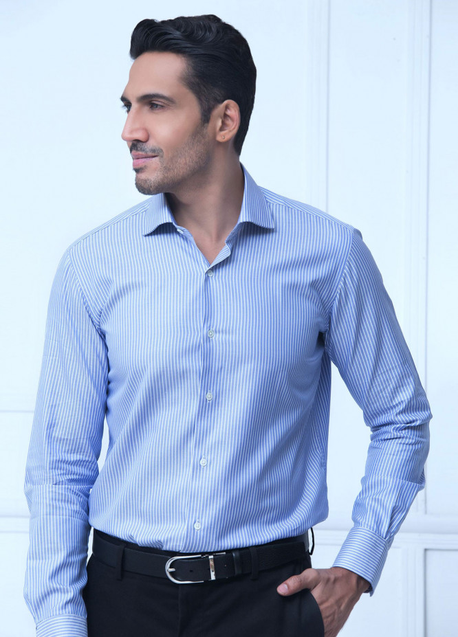 Brumano Cotton Formal Men Shirts Blue BRM 182