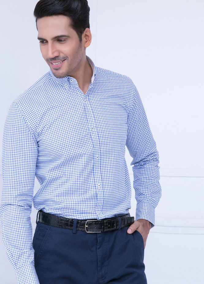 Brumano Cotton Formal Shirts for Men   Blue BRM 185