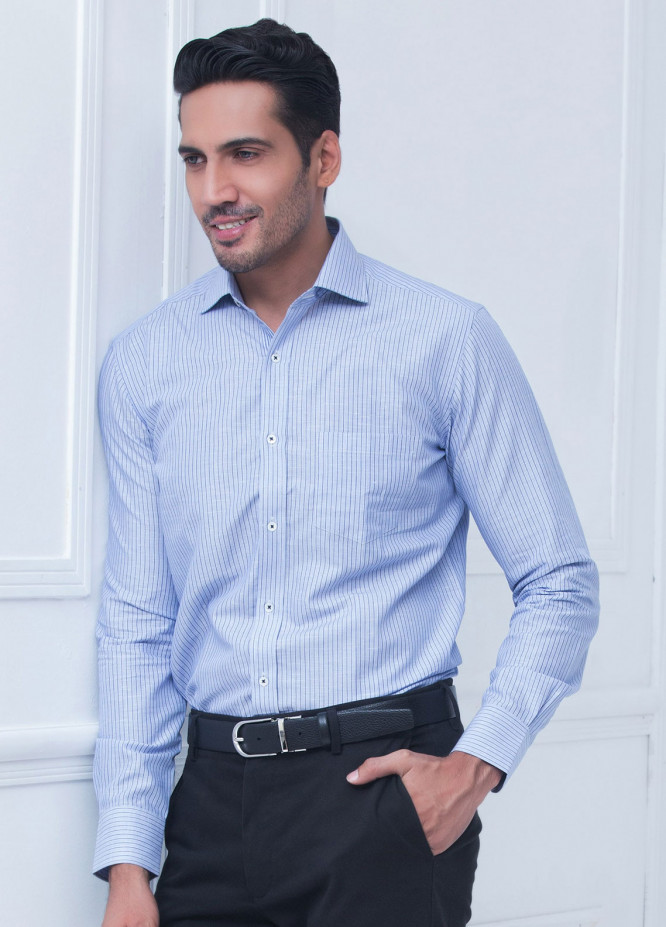 Brumano Cotton Formal Shirts for Men Blue BRM 203