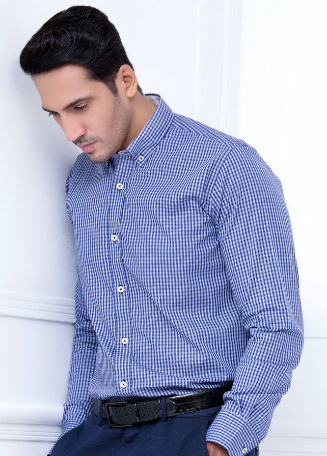Brumano Cotton Formal Shirts for Men   Blue BRM 218