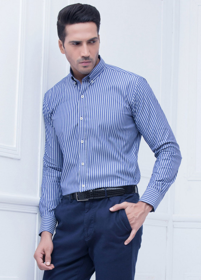 Brumano Cotton Formal Men Shirts   Blue BRM 219