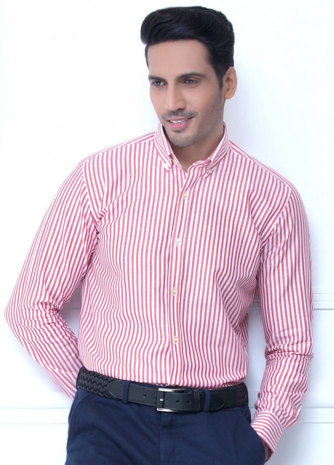Brumano Cotton Formal Shirts for Men   Red BRM 224
