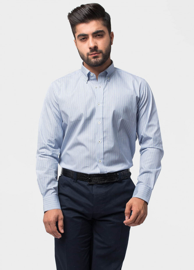 Brumano Cotton Formal Shirts for Men   Blue BRM 497