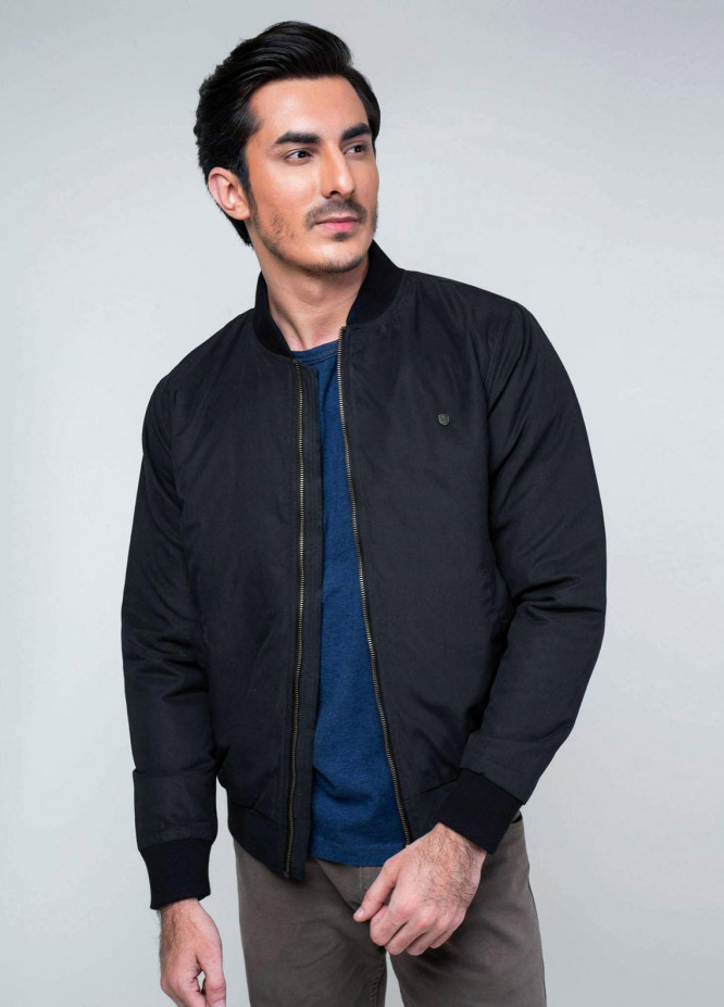 Brumano Polyester Casual Mens Jackets -   Charcoal Quilted Bomber