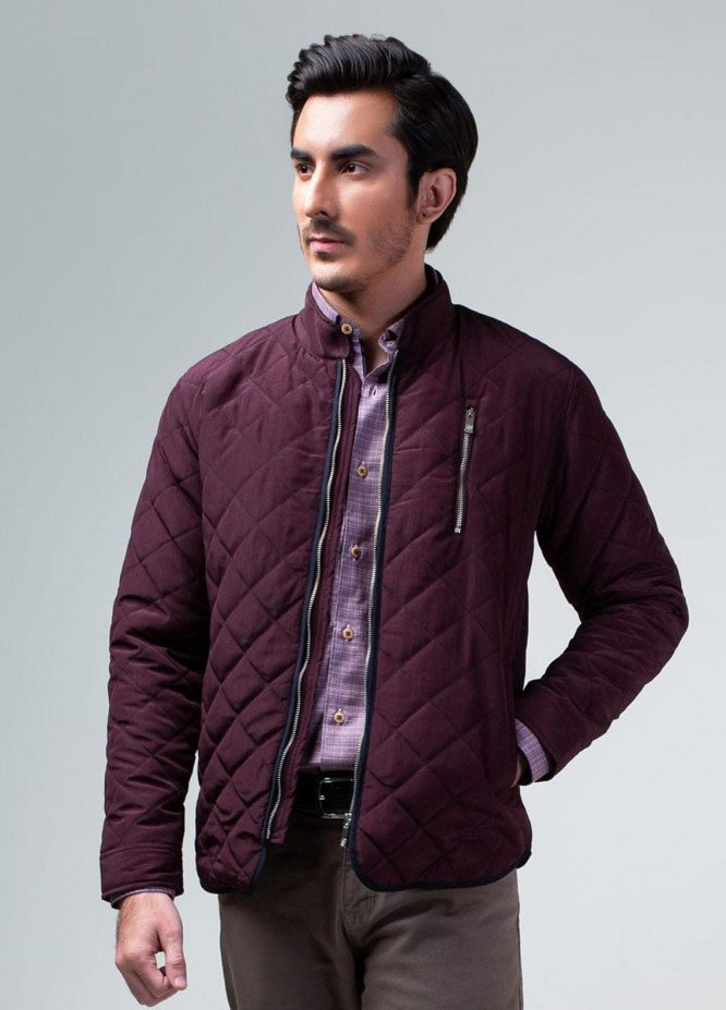 Brumano Polyester Casual Mens Jackets -   Dark Burgundy Quilted Padded