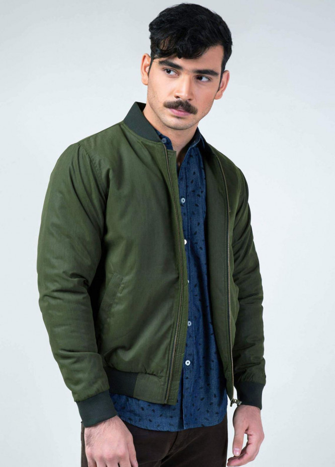 Brumano Polyester Casual Mens Jackets -   Olive Green Quilted Bomber