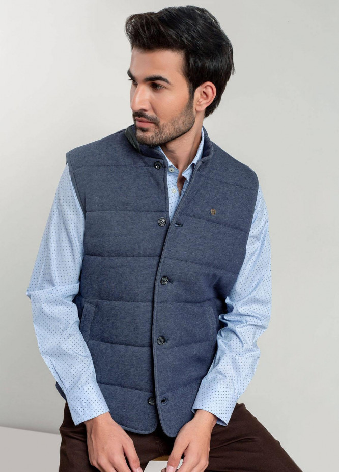 Brumano Polyester Casual Mens Jackets -   Blue Knitted Sleeveless Vest With Leather Detailing