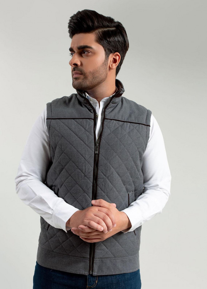 Brumano Polyester Casual Jackets for Mens -   Grey Structured Quilted Sleeveless