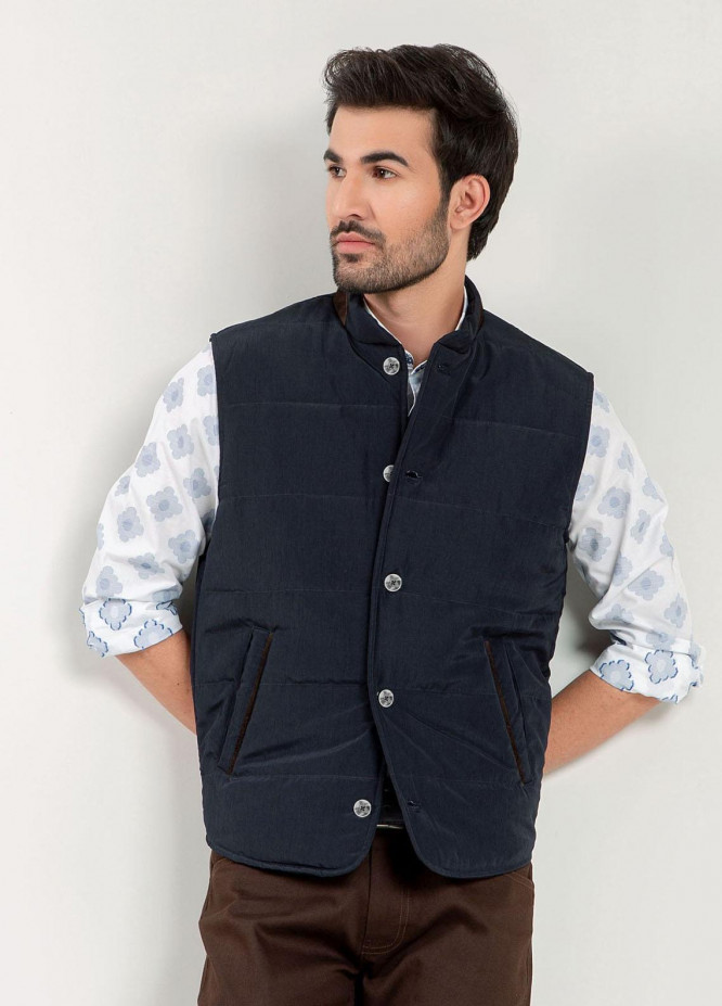 Brumano Cotton Casual Mens Jackets -   Navy Blue Quilted Sleeveless Vest With Leather Detailing