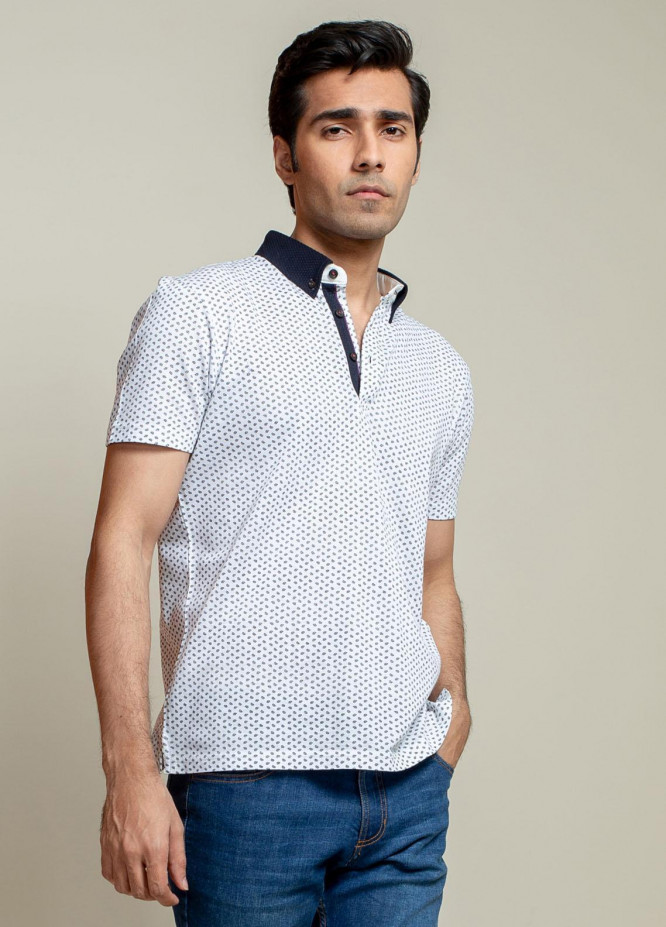 Brumano Cotton Polo Men T-Shirts -   White Printed Polo Shirt With Contrasting Collar