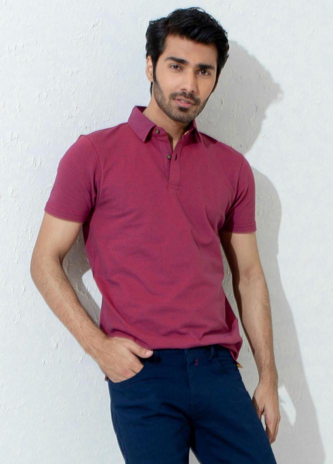 Brumano Cotton Polo T-Shirts for Men -   Magenta Pique Mercerized Polo Shirt