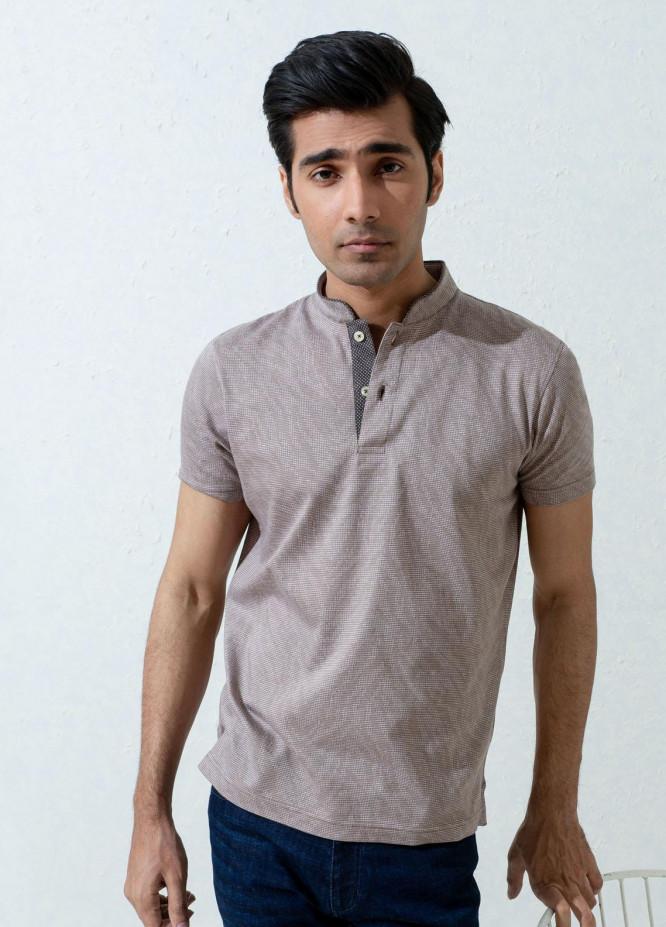 Brumano Cotton Polo T-Shirts for Men -   Tan Brown Mao Collar Polo Shirt