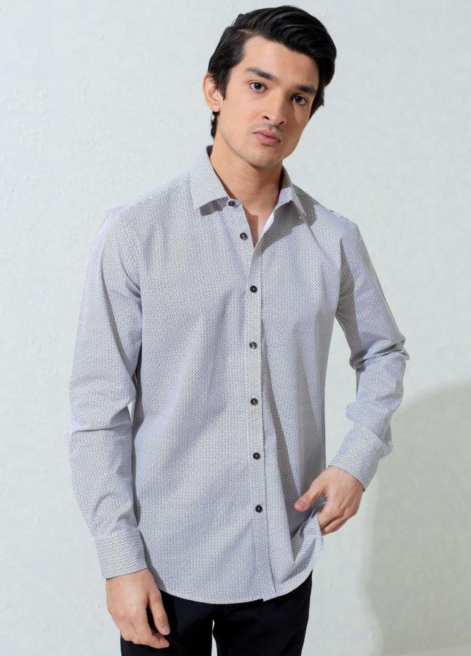 Brumano Cotton Casual Men Shirts -  White & Black Printed