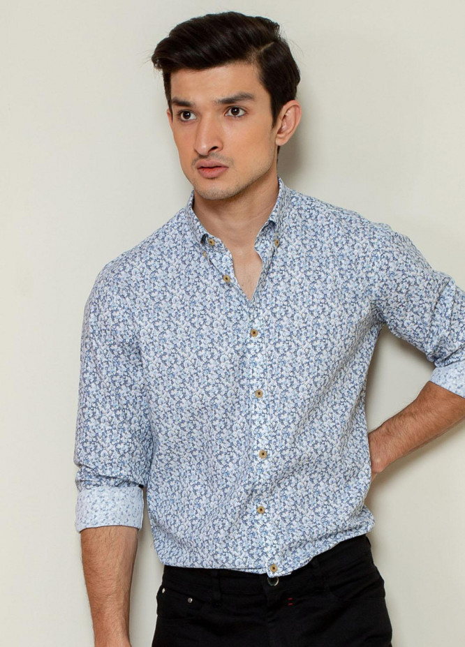 Brumano Cotton Casual Shirts for Men -  Blue Abstract Printed