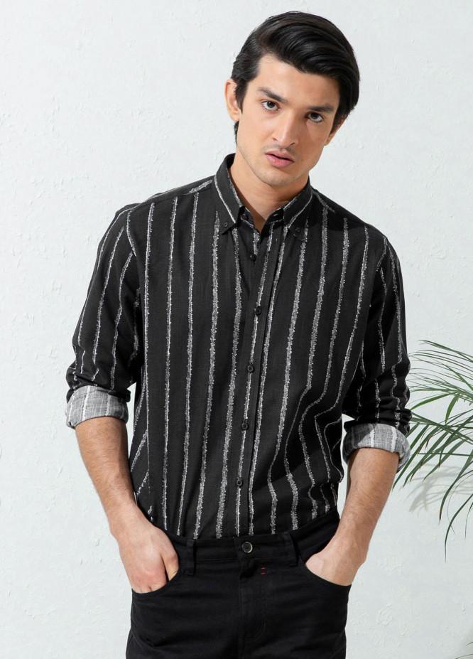Brumano Cotton Casual Shirts for Men -  Black Striped