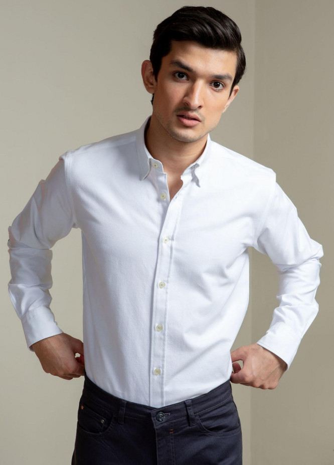 Brumano Cotton Casual Shirts for Men -  White Oxford Shirt With Navy Elbow Patch
