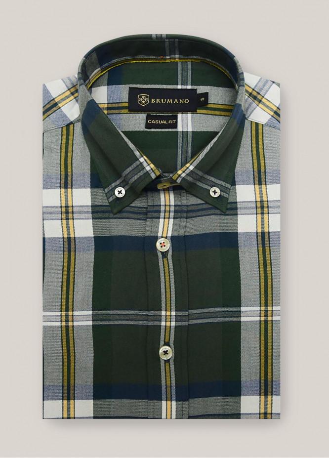 Brumano Cotton Check Men Shirts -  1303 Green Flannel