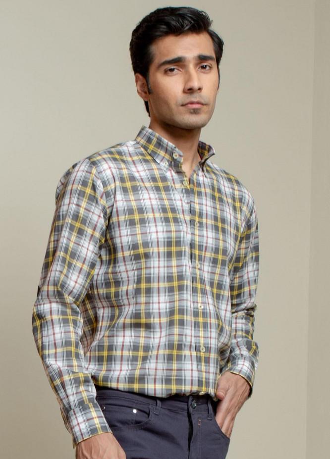 Brumano Cotton Casual Men Shirts -  Grey & Yellow Checkered Light Weight