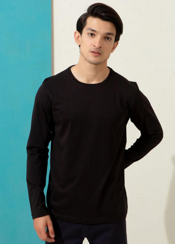 Brumano Cotton Formal T-Shirts for Men -  Black Crew Neck T-Shirt