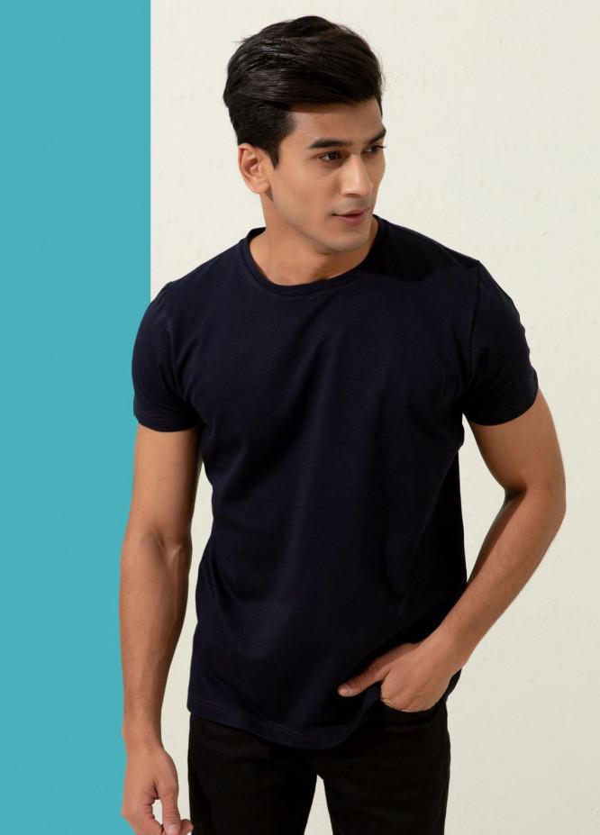 Brumano Cotton Formal Men T-Shirts -  Navy Blue Textured Mercerized T-Shirt
